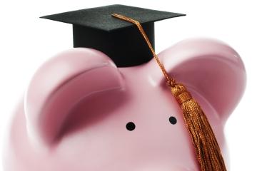 Piggy Bank Graduate on White Background